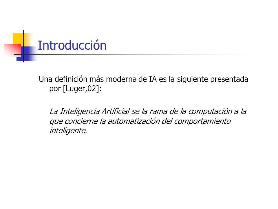 Introducción Una definición más moderna de IA es la siguiente presentada por [Luger,02]: